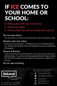 Poster about what to do if ICE comes to your home or school