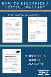 Poster about How to Recognize a Judicial Warrant