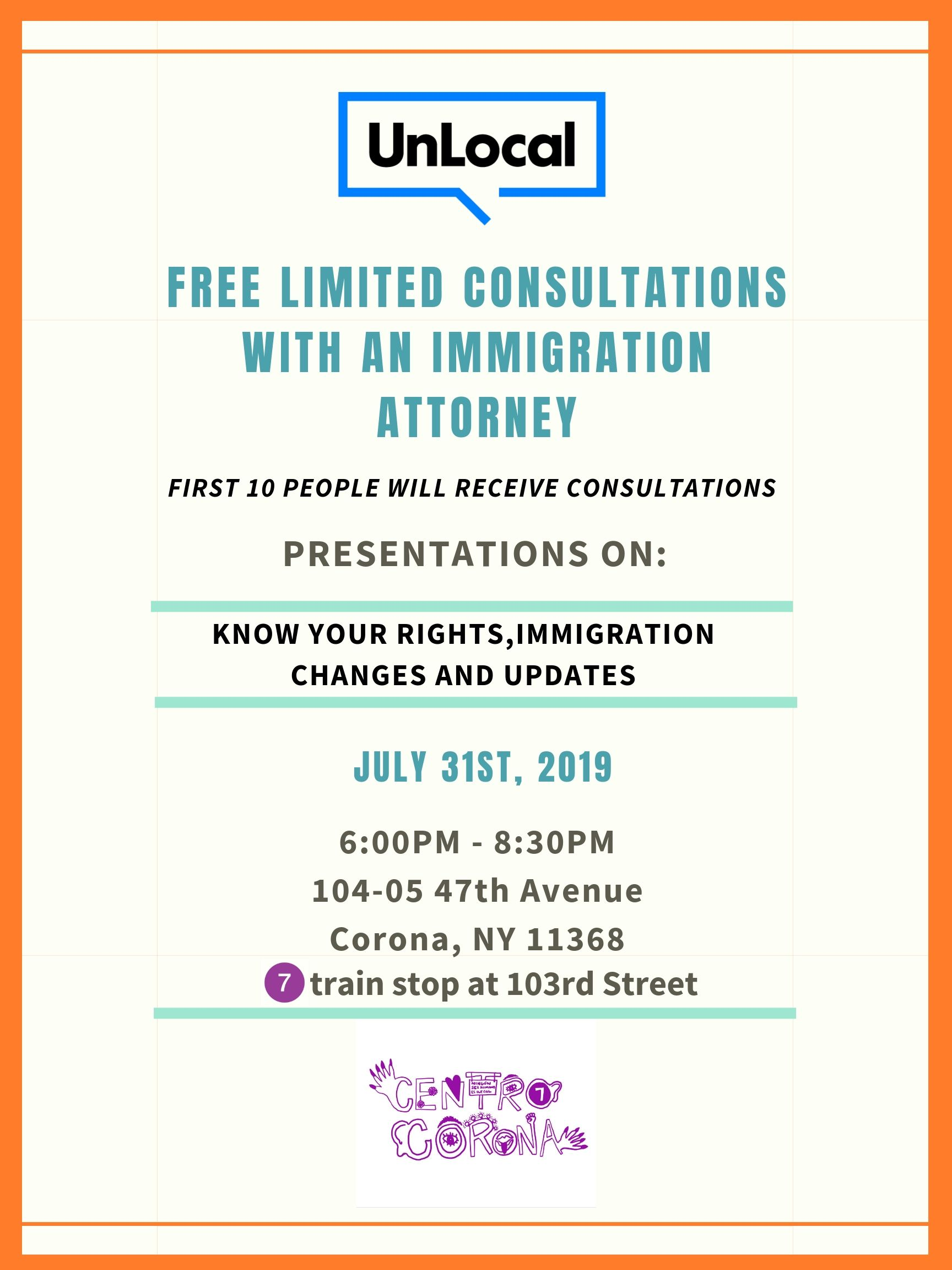 Monthly Free Legal Consultations at Centro Corona